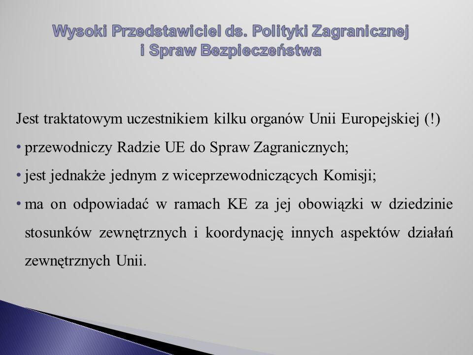 Jest traktatowym uczestnikiem kilku organów Unii Europejskiej (!) przewodniczy Radzie UE do Spraw Zagranicznych; jest jednakże jednym z wiceprzewodniczących Komisji; ma on odpowiadać w ramach KE za jej obowiązki w dziedzinie stosunków zewnętrznych i koordynację innych aspektów działań zewnętrznych Unii.