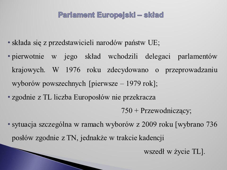 składa się z przedstawicieli narodów państw UE; pierwotnie w jego skład wchodzili delegaci parlamentów krajowych.