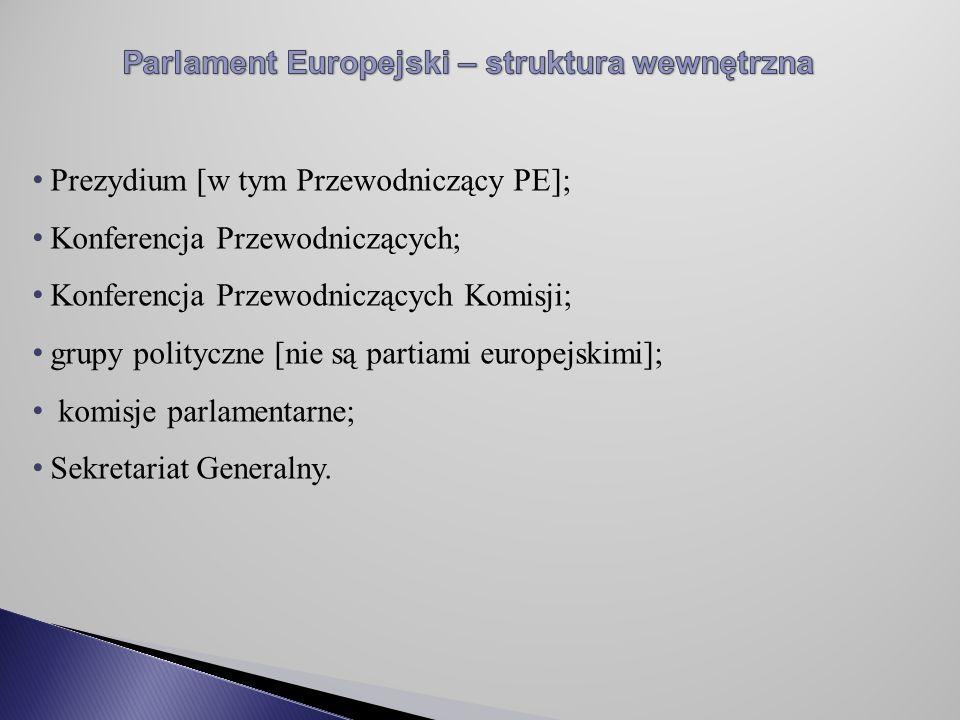 Prezydium [w tym Przewodniczący PE]; Konferencja Przewodniczących; Konferencja Przewodniczących Komisji; grupy polityczne [nie są partiami europejskimi]; komisje parlamentarne; Sekretariat Generalny.
