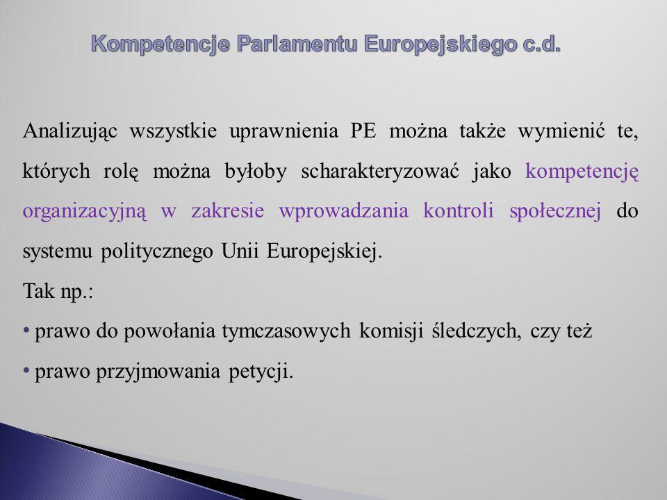 Analizując wszystkie uprawnienia PE można także wymienić te, których rolę można byłoby scharakteryzować jako kompetencję organizacyjną w zakresie wprowadzania kontroli społecznej do systemu politycznego Unii Europejskiej.