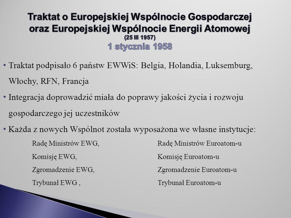 Traktat podpisało 6 państw EWWiS: Belgia, Holandia, Luksemburg, Włochy, RFN, Francja Integracja doprowadzić miała do poprawy jakości życia i rozwoju gospodarczego jej uczestników Każda z nowych Wspólnot została wyposażona we własne instytucje: Radę Ministrów EWG, Radę Ministrów Euroatom-u Komisję EWG, Komisję Euroatom-u Zgromadzenie EWG, Zgromadzenie Euroatom-u Trybunał EWG, Trybunał Euroatom-u