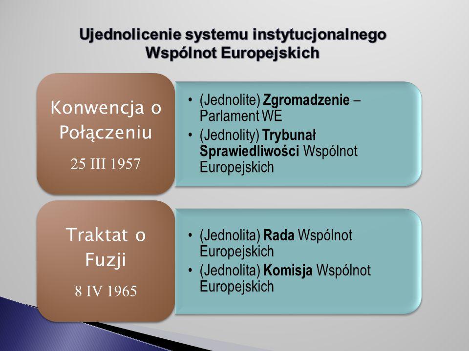 (Jednolite) Zgromadzenie – Parlament WE (Jednolity) Trybunał Sprawiedliwości Wspólnot Europejskich Konwencja o Połączeniu 25 III 1957 (Jednolita) Rada Wspólnot Europejskich (Jednolita) Komisja Wspólnot Europejskich Traktat o Fuzji 8 IV 1965