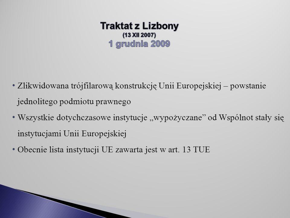"""Zlikwidowana trójfilarową konstrukcję Unii Europejskiej – powstanie jednolitego podmiotu prawnego Wszystkie dotychczasowe instytucje """"wypożyczane od Wspólnot stały się instytucjami Unii Europejskiej Obecnie lista instytucji UE zawarta jest w art."""