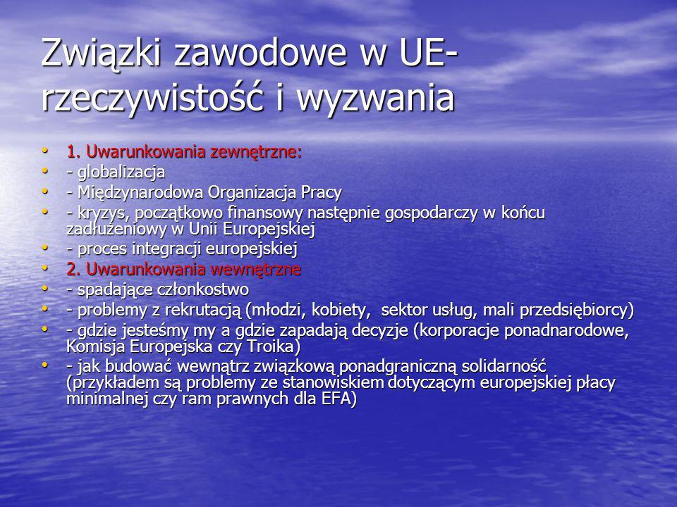 Związki zawodowe w UE- rzeczywistość i wyzwania 1.