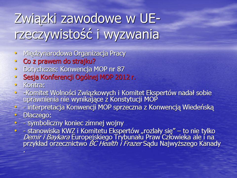 Związki zawodowe w UE- rzeczywistość i wyzwania Międzynarodowa Organizacja Pracy Międzynarodowa Organizacja Pracy Co z prawem do strajku.