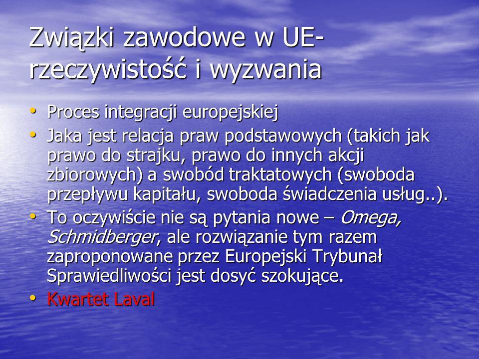 Związki zawodowe w UE- rzeczywistość i wyzwania Proces integracji europejskiej Proces integracji europejskiej Jaka jest relacja praw podstawowych (takich jak prawo do strajku, prawo do innych akcji zbiorowych) a swobód traktatowych (swoboda przepływu kapitału, swoboda świadczenia usług..).