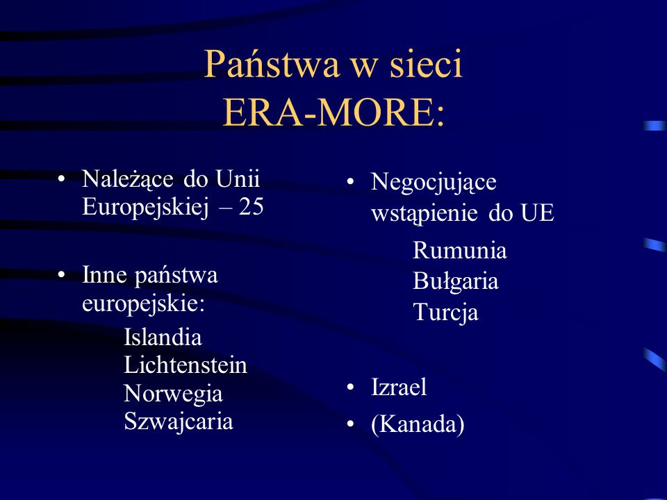 Państwa w sieci ERA-MORE: Należące do Unii Europejskiej – 25 Inne państwa europejskie: Islandia Lichtenstein Norwegia Szwajcaria Negocjujące wstąpieni