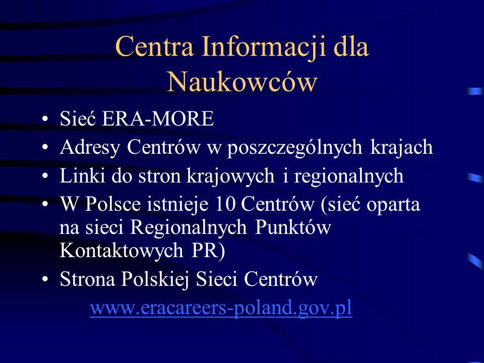 Centra Informacji dla Naukowców Sieć ERA-MORE Adresy Centrów w poszczególnych krajach Linki do stron krajowych i regionalnych W Polsce istnieje 10 Cen