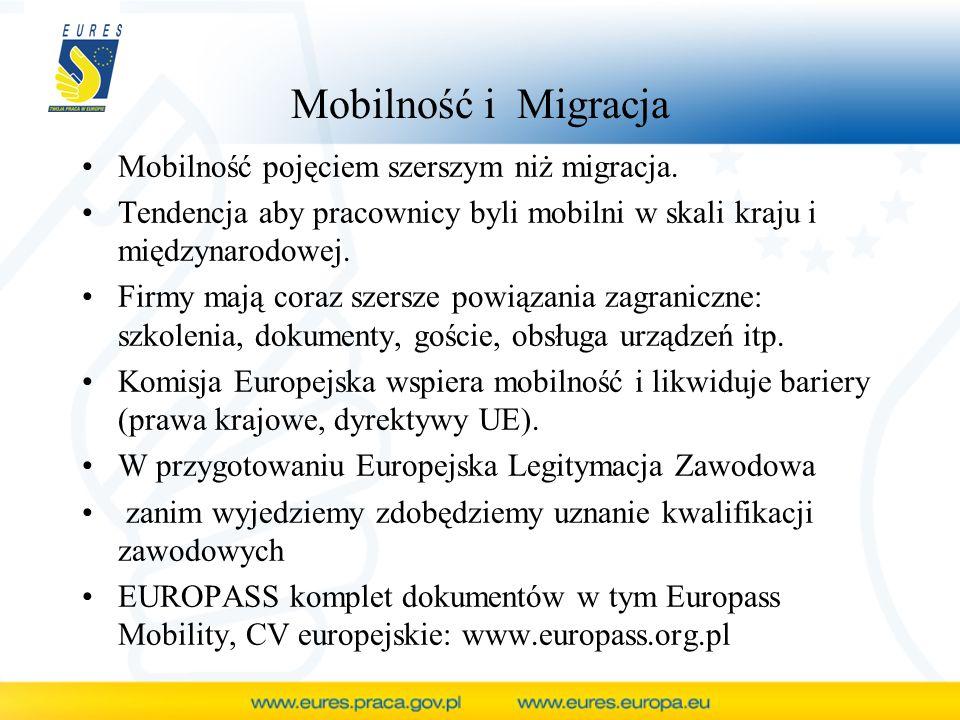 Mobilność i Migracja Mobilność pojęciem szerszym niż migracja. Tendencja aby pracownicy byli mobilni w skali kraju i międzynarodowej. Firmy mają coraz