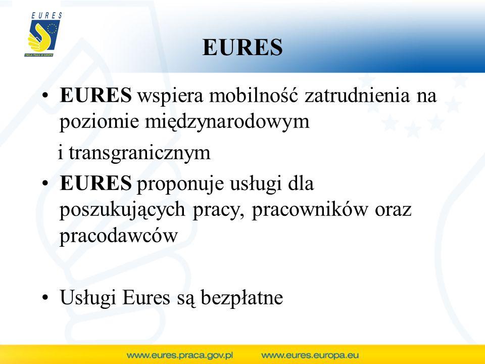 EURES EURES wspiera mobilność zatrudnienia na poziomie międzynarodowym i transgranicznym EURES proponuje usługi dla poszukujących pracy, pracowników o