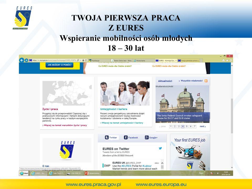 TWOJA PIERWSZA PRACA Z EURES Wspieranie mobilności osób młodych 18 – 30 lat