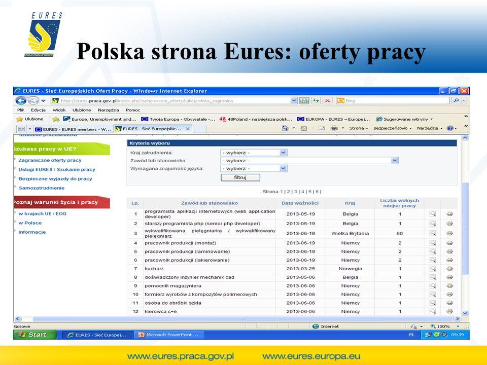 Polska strona Eures: oferty pracy
