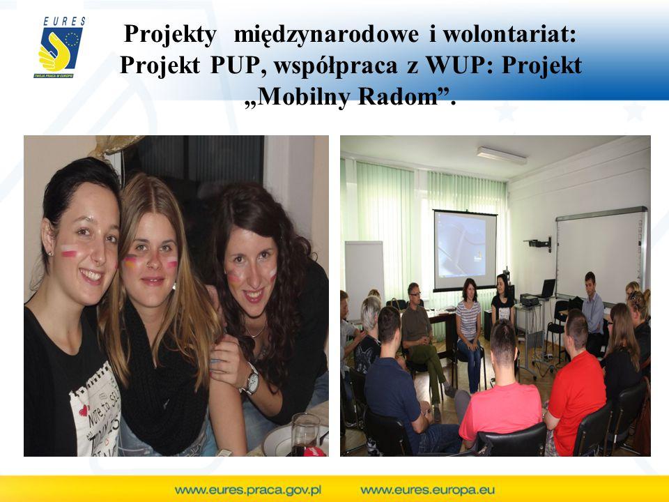 """Projekty międzynarodowe i wolontariat: Projekt PUP, współpraca z WUP: Projekt """"Mobilny Radom""""."""