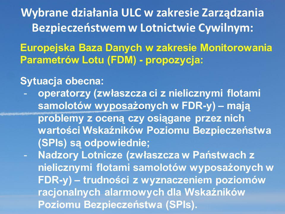 Wybrane działania ULC w zakresie Zarządzania Bezpieczeństwem w Lotnictwie Cywilnym: Europejska Baza Danych w zakresie Monitorowania Parametrów Lotu (F