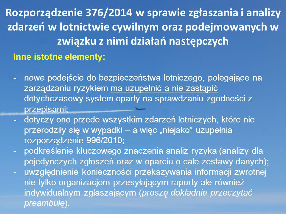 Rozporządzenie 376/2014 w sprawie zgłaszania i analizy zdarzeń w lotnictwie cywilnym oraz podejmowanych w związku z nimi działań następczych Inne isto
