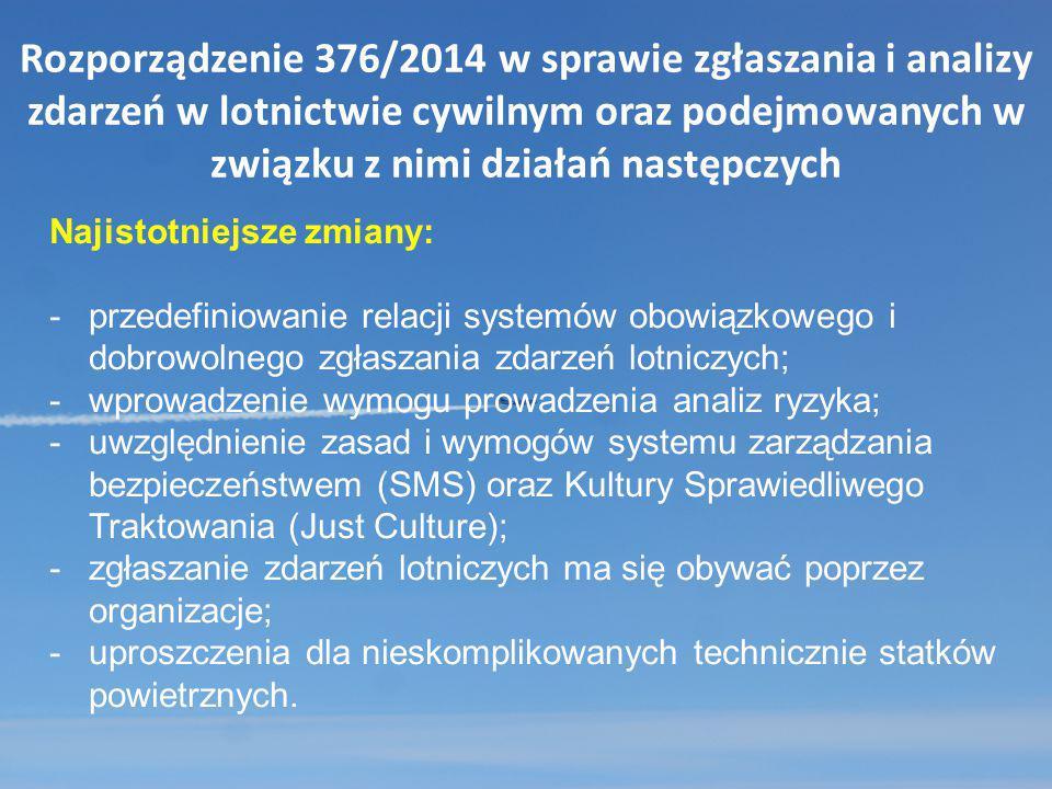 Rozporządzenie 376/2014 w sprawie zgłaszania i analizy zdarzeń w lotnictwie cywilnym oraz podejmowanych w związku z nimi działań następczych Najistotn