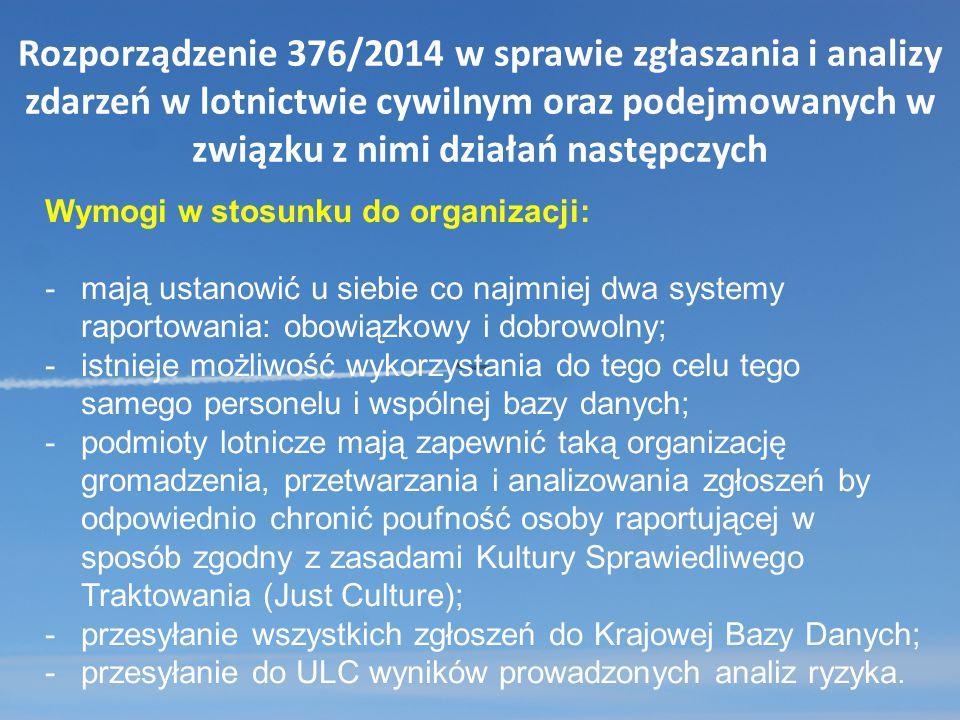 Rozporządzenie 376/2014 w sprawie zgłaszania i analizy zdarzeń w lotnictwie cywilnym oraz podejmowanych w związku z nimi działań następczych Wymogi w