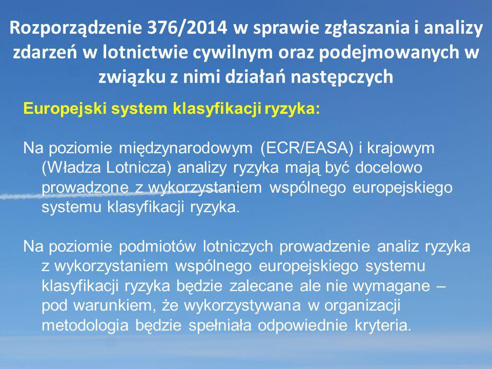 Rozporządzenie 376/2014 w sprawie zgłaszania i analizy zdarzeń w lotnictwie cywilnym oraz podejmowanych w związku z nimi działań następczych Europejsk