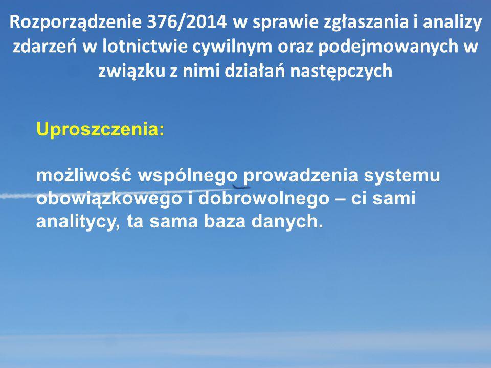 Rozporządzenie 376/2014 w sprawie zgłaszania i analizy zdarzeń w lotnictwie cywilnym oraz podejmowanych w związku z nimi działań następczych Uproszcze