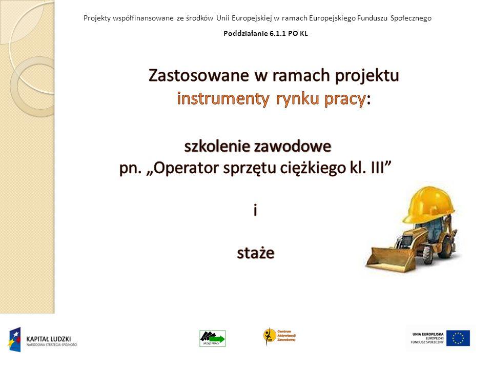 Projekty współfinansowane ze środków Unii Europejskiej w ramach Europejskiego Funduszu Społecznego Poddziałanie 6.1.1 PO KL