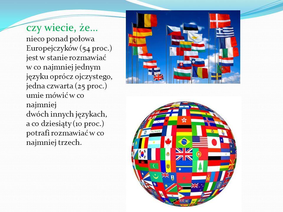 czy wiecie, że... nieco ponad połowa Europejczyków (54 proc.) jest w stanie rozmawiać w co najmniej jednym języku oprócz ojczystego, jedna czwarta (25