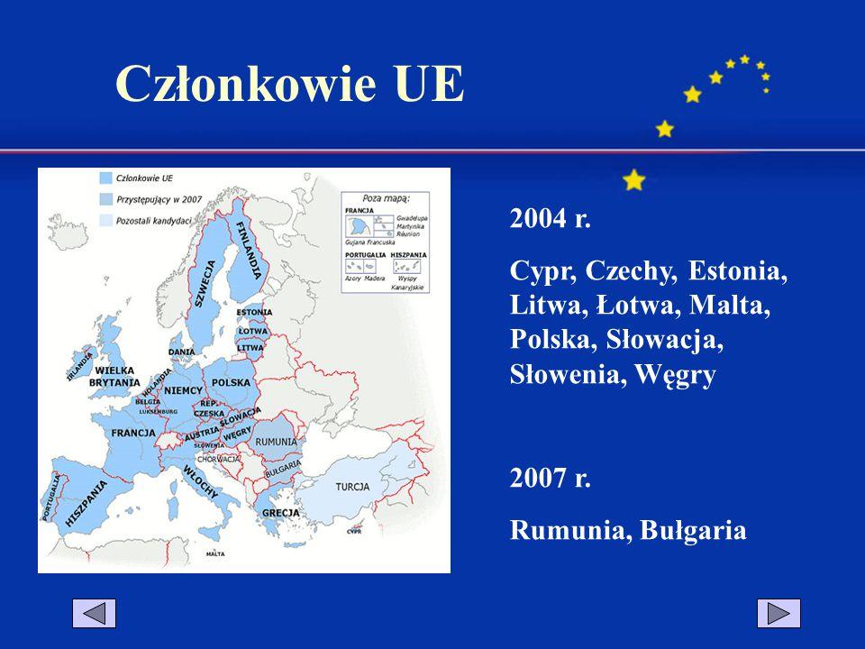 2004 r. Cypr, Czechy, Estonia, Litwa, Łotwa, Malta, Polska, Słowacja, Słowenia, Węgry 2007 r. Rumunia, Bułgaria