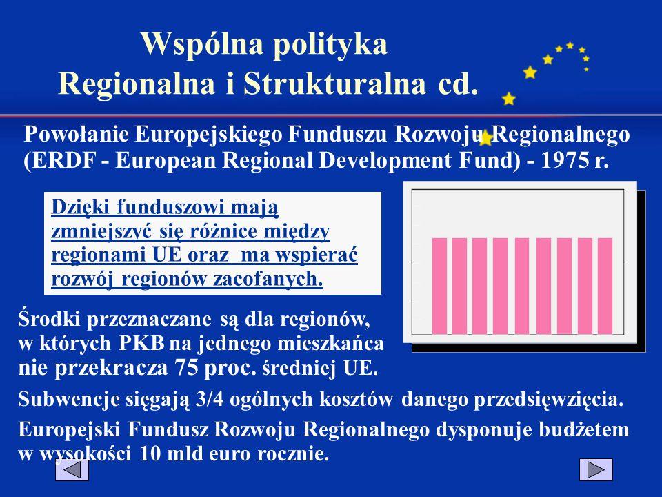 Powołanie Europejskiego Funduszu Rozwoju Regionalnego (ERDF - European Regional Development Fund) - 1975 r. Dzięki funduszowi mają zmniejszyć się różn