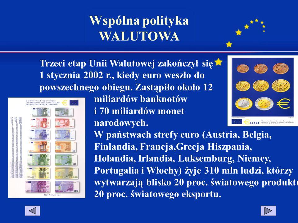 Wspólna polityka WALUTOWA Trzeci etap Unii Walutowej zakończył się 1 stycznia 2002 r., kiedy euro weszło do powszechnego obiegu. Zastąpiło około 12 mi