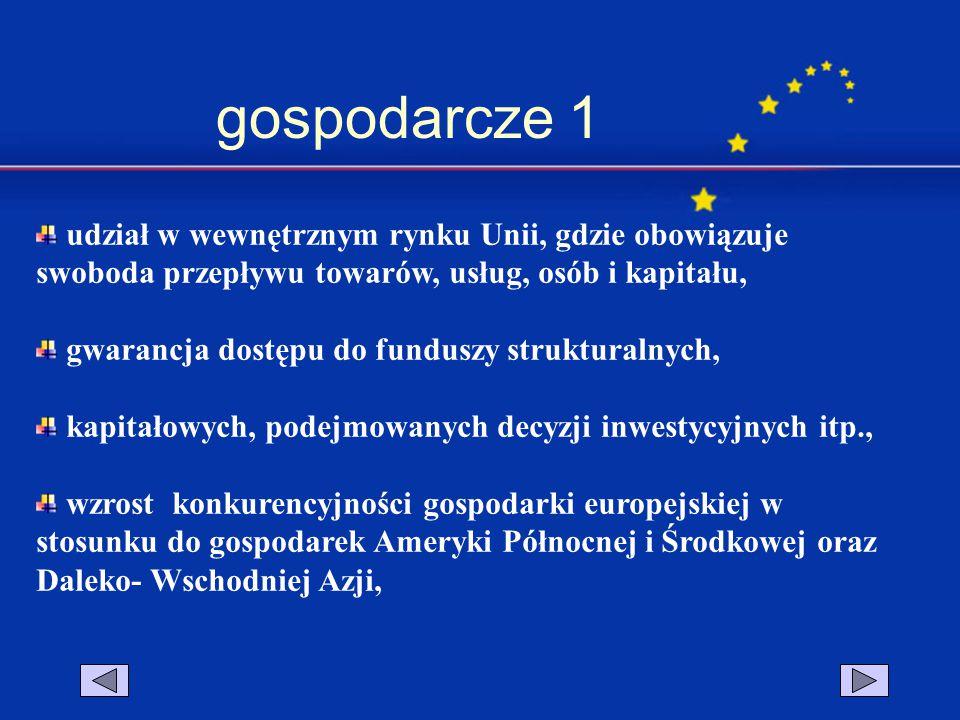 gospodarcze 1 udział w wewnętrznym rynku Unii, gdzie obowiązuje swoboda przepływu towarów, usług, osób i kapitału, gwarancja dostępu do funduszy struk