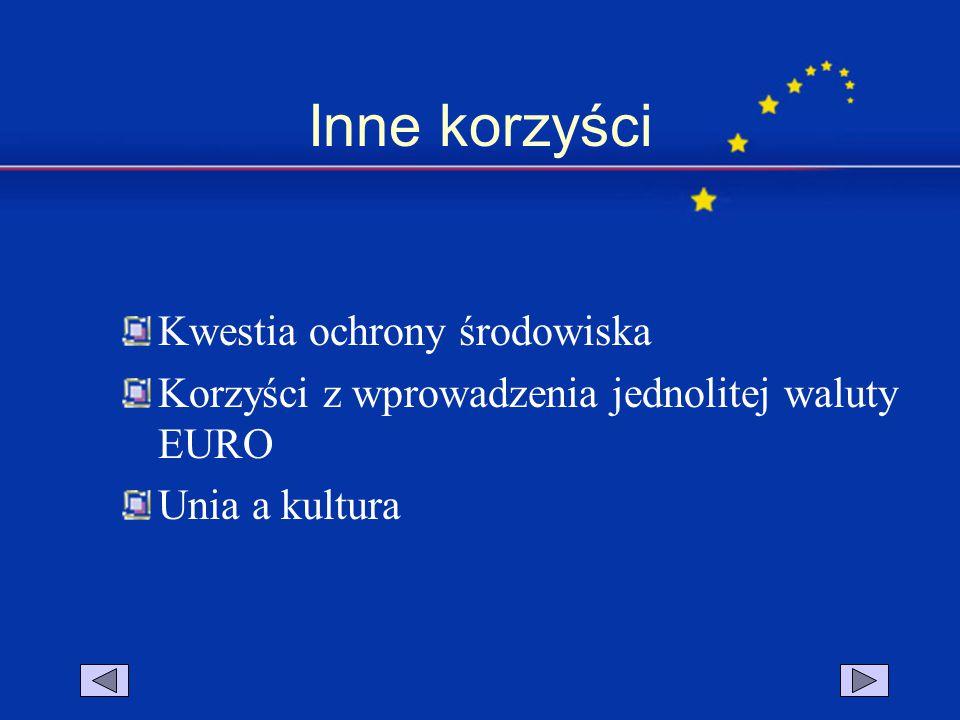 Inne korzyści Kwestia ochrony środowiska Korzyści z wprowadzenia jednolitej waluty EURO Unia a kultura