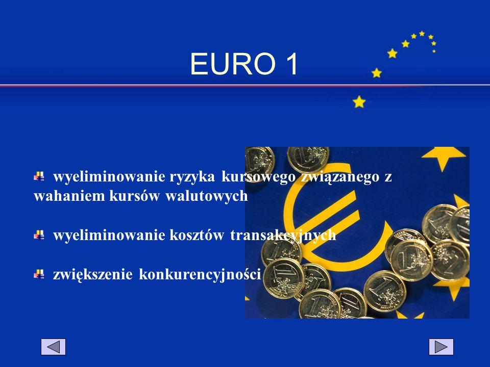EURO 1 wyeliminowanie ryzyka kursowego związanego z wahaniem kursów walutowych wyeliminowanie kosztów transakcyjnych zwiększenie konkurencyjności