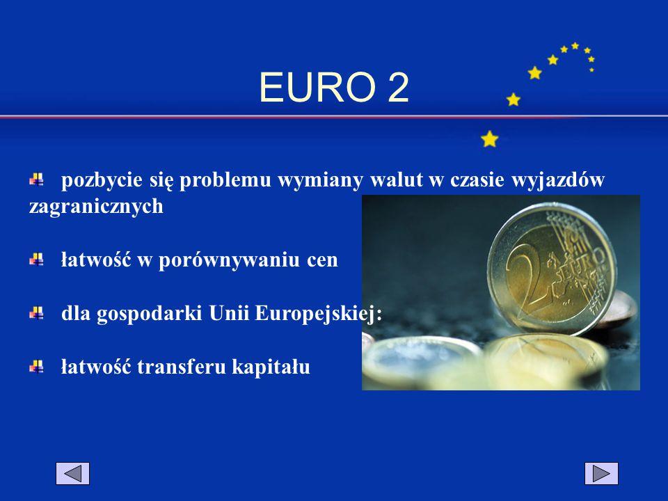 EURO 2 pozbycie się problemu wymiany walut w czasie wyjazdów zagranicznych łatwość w porównywaniu cen dla gospodarki Unii Europejskiej: łatwość transf