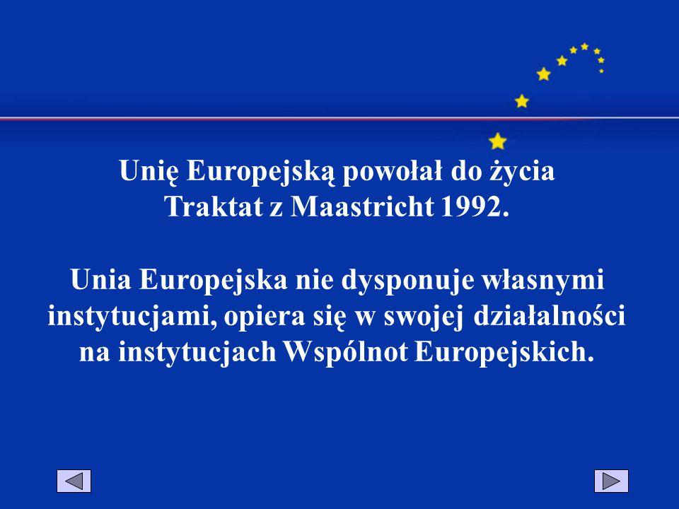 Unię Europejską powołał do życia Traktat z Maastricht 1992. Unia Europejska nie dysponuje własnymi instytucjami, opiera się w swojej działalności na i