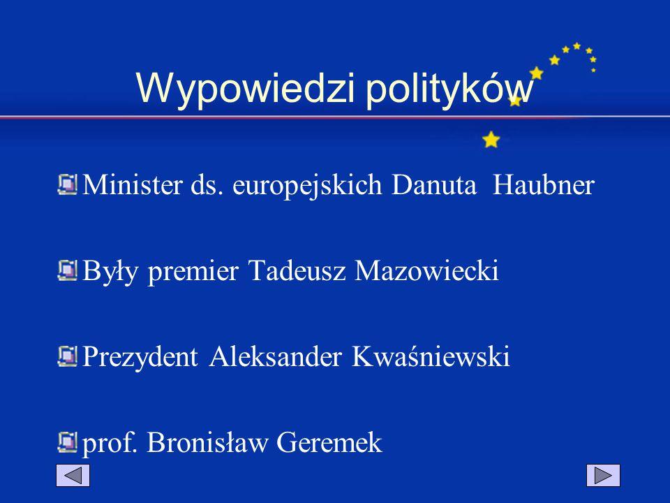 Wypowiedzi polityków Minister ds. europejskich Danuta Haubner Były premier Tadeusz Mazowiecki Prezydent Aleksander Kwaśniewski prof. Bronisław Geremek