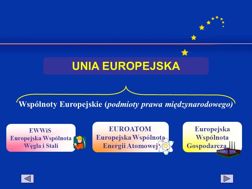 Wspólnoty Europejskie (podmioty prawa międzynarodowego) EWWiS Europejska Wspólnota Węgla i Stali EUROATOM Europejska Wspólnota Energii Atomowej Europe