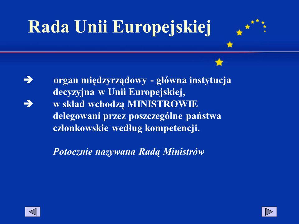 KOMPETENCJE RADY: - koordynacja ogólnej polityki gospodarczej członków Wspólnot, - prawo podejmowania decyzji, - nadaje Komisji Europejskiej prawo i obowiązek realizacji uchwalonych przez siebie aktów prawnych, itp.