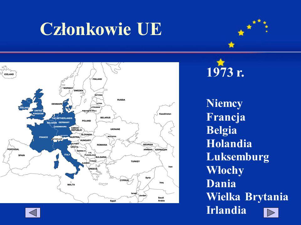 Członkowie UE 1973 r. Niemcy Francja Belgia Holandia Luksemburg Włochy Dania Wielka Brytania Irlandia