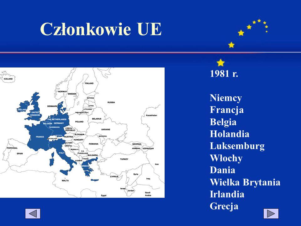1981 r. Niemcy Francja Belgia Holandia Luksemburg Włochy Dania Wielka Brytania Irlandia Grecja Członkowie UE
