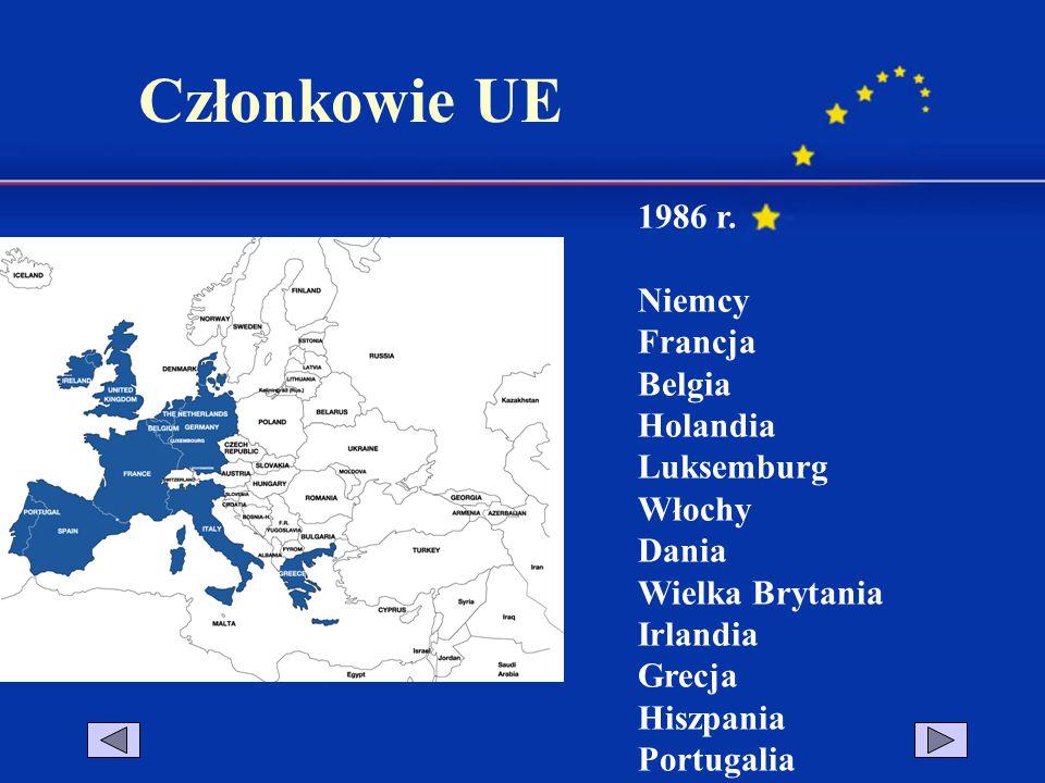 1986 r. Niemcy Francja Belgia Holandia Luksemburg Włochy Dania Wielka Brytania Irlandia Grecja Hiszpania Portugalia Członkowie UE