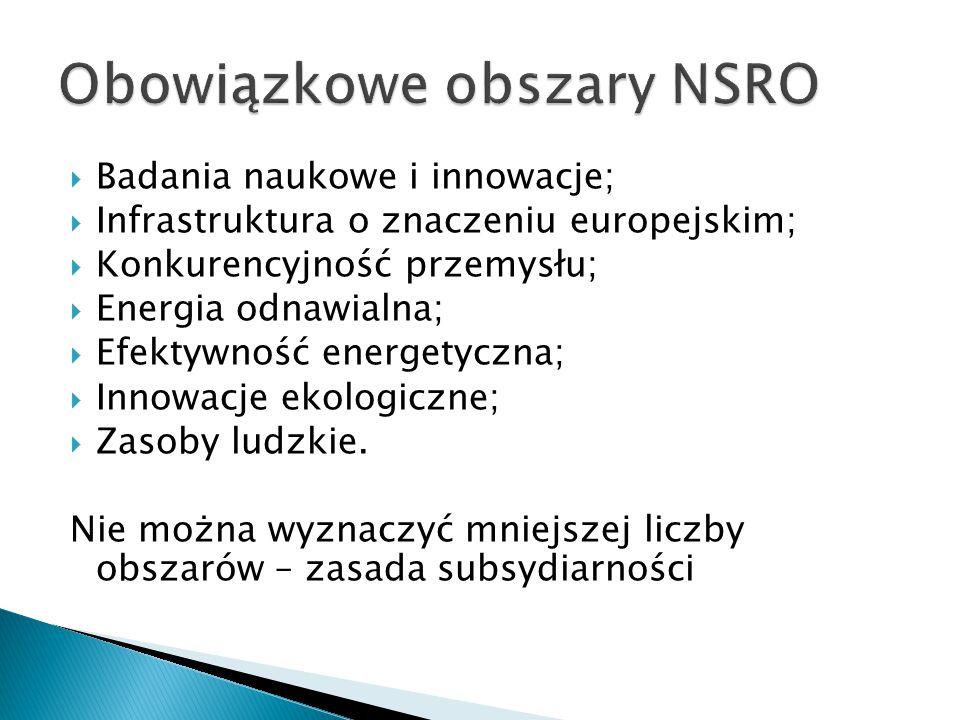  Badania naukowe i innowacje;  Infrastruktura o znaczeniu europejskim;  Konkurencyjność przemysłu;  Energia odnawialna;  Efektywność energetyczna;  Innowacje ekologiczne;  Zasoby ludzkie.