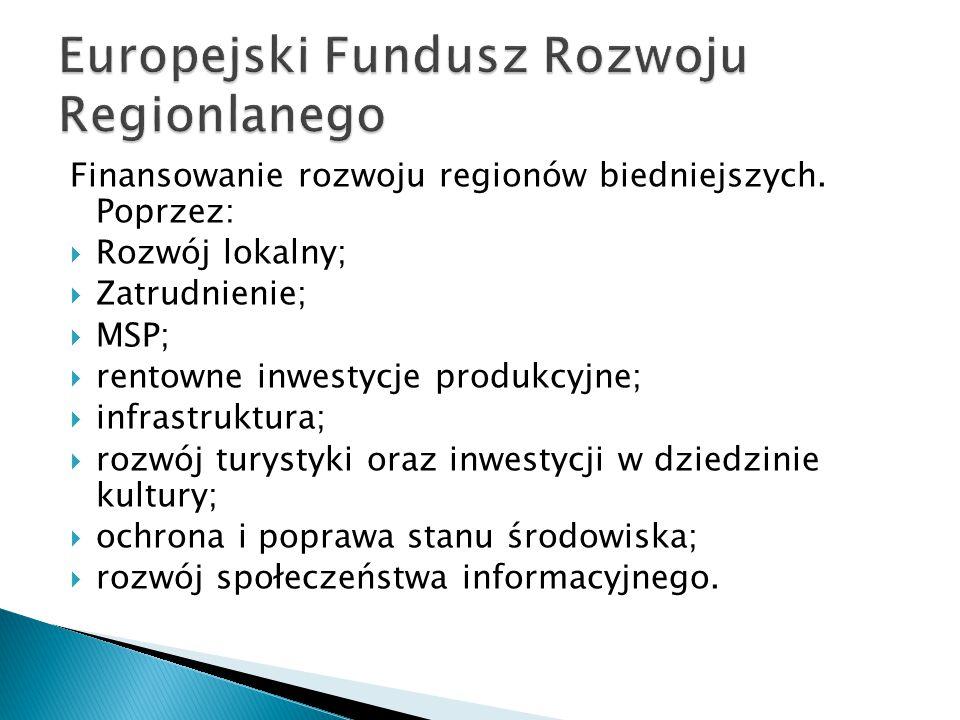 Finansowanie rozwoju regionów biedniejszych.