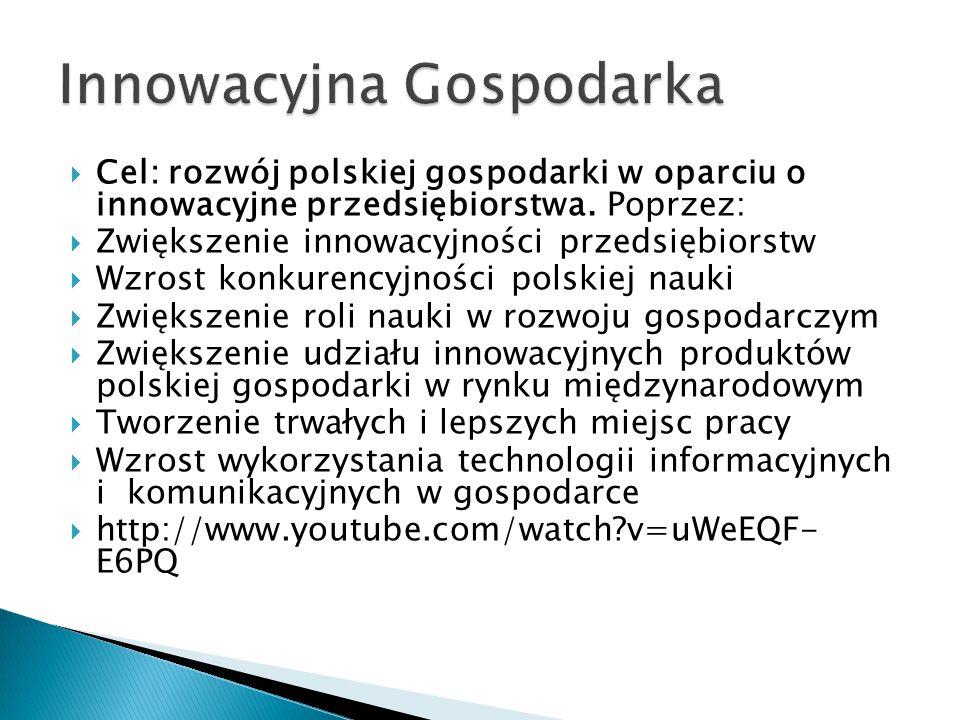  Cel: rozwój polskiej gospodarki w oparciu o innowacyjne przedsiębiorstwa.