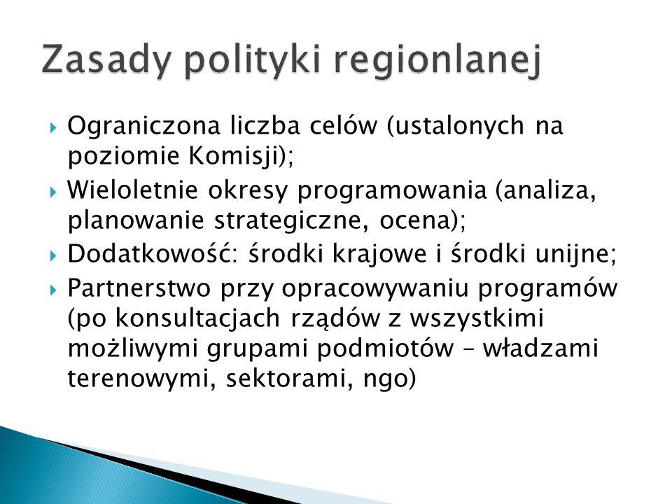  Ograniczona liczba celów (ustalonych na poziomie Komisji);  Wieloletnie okresy programowania (analiza, planowanie strategiczne, ocena);  Dodatkowość: środki krajowe i środki unijne;  Partnerstwo przy opracowywaniu programów (po konsultacjach rządów z wszystkimi możliwymi grupami podmiotów – władzami terenowymi, sektorami, ngo)