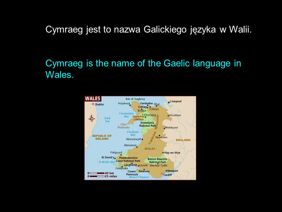 Cymraeg jest to nazwa Galickiego języka w Walii. Cymraeg is the name of the Gaelic language in Wales.
