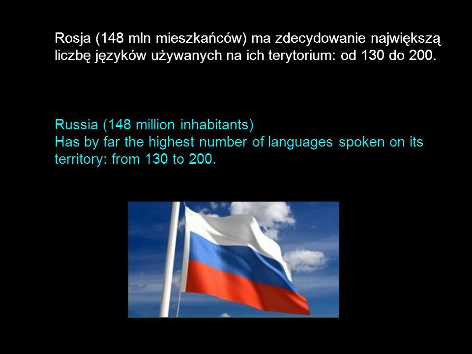 Rosja (148 mln mieszkańców) ma zdecydowanie największą liczbę języków używanych na ich terytorium: od 130 do 200. Russia (148 million inhabitants) Has