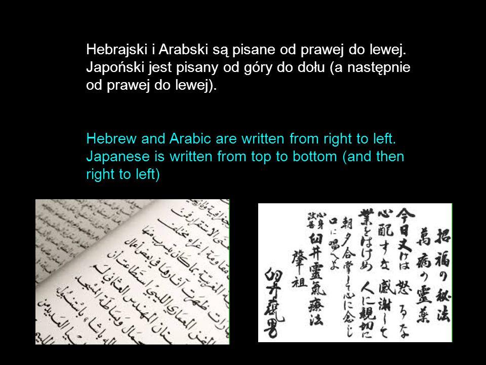 Hebrajski i Arabski są pisane od prawej do lewej. Japoński jest pisany od góry do dołu (a następnie od prawej do lewej). Hebrew and Arabic are written