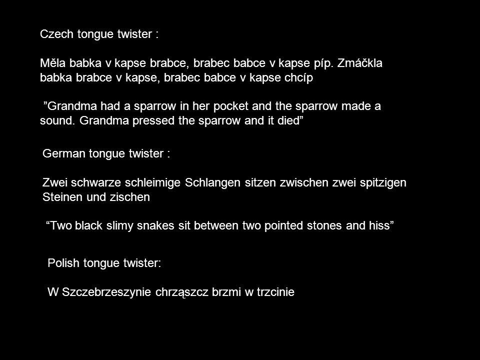 """Czech tongue twister : Měla babka v kapse brabce, brabec babce v kapse píp. Zmáčkla babka brabce v kapse, brabec babce v kapse chcíp """"Grandma had a sp"""