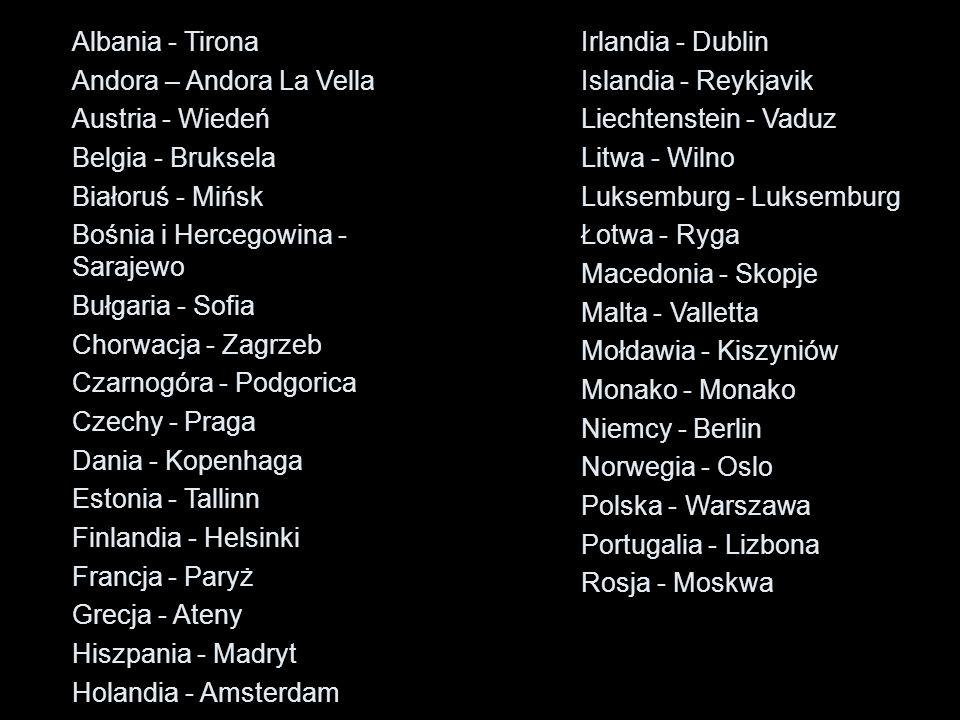 Albania - Tirona Andora – Andora La Vella Austria - Wiedeń Belgia - Bruksela Białoruś - Mińsk Bośnia i Hercegowina - Sarajewo Bułgaria - Sofia Chorwac