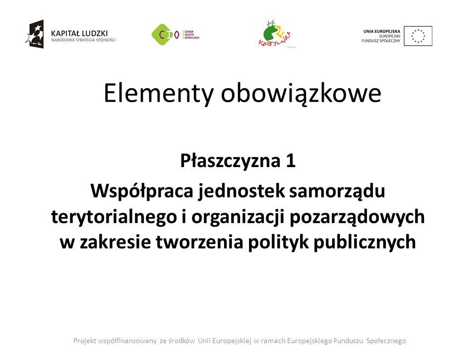 Elementy obowiązkowe Płaszczyzna 1 Współpraca jednostek samorządu terytorialnego i organizacji pozarządowych w zakresie tworzenia polityk publicznych Projekt współfinansowany ze środków Unii Europejskiej w ramach Europejskiego Funduszu Społecznego