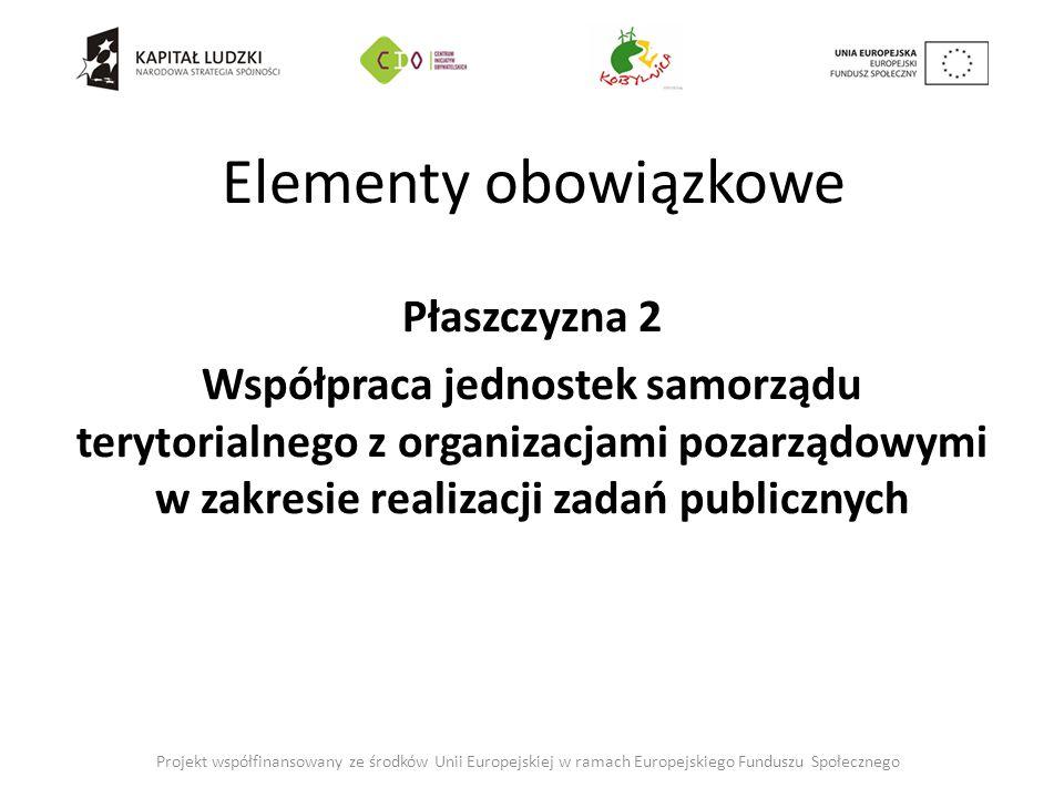 Elementy obowiązkowe Płaszczyzna 2 Współpraca jednostek samorządu terytorialnego z organizacjami pozarządowymi w zakresie realizacji zadań publicznych Projekt współfinansowany ze środków Unii Europejskiej w ramach Europejskiego Funduszu Społecznego